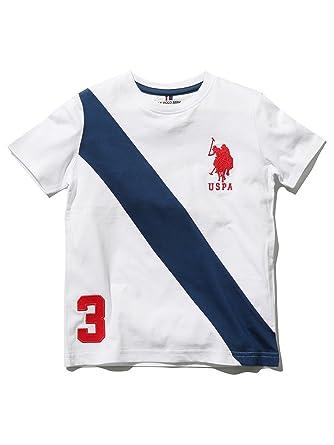27967f0a8 M&Co Us Polo Assn. Boys 100% Cotton Short Sleeve Crew Neck Stripe Front  Logo Print Applique T-Shirt White 4/5 Yr: Amazon.co.uk: Clothing