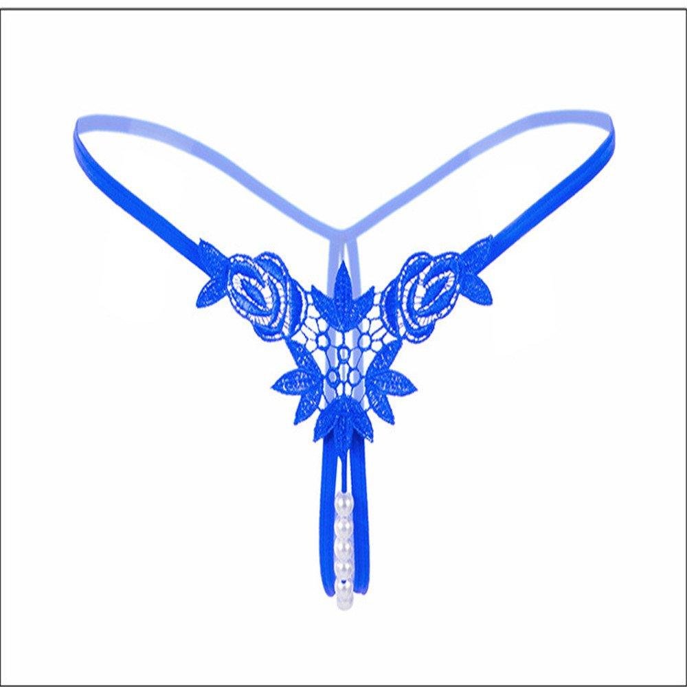 Shirloy Brodé tridimensionnel Sexy sous-vêtements Perle Dames Soluble dans  l eau Fleur String Taille Basse Sexy Perspective String Bikini Bleu  Amazon. fr  ... 60c86b3bf72