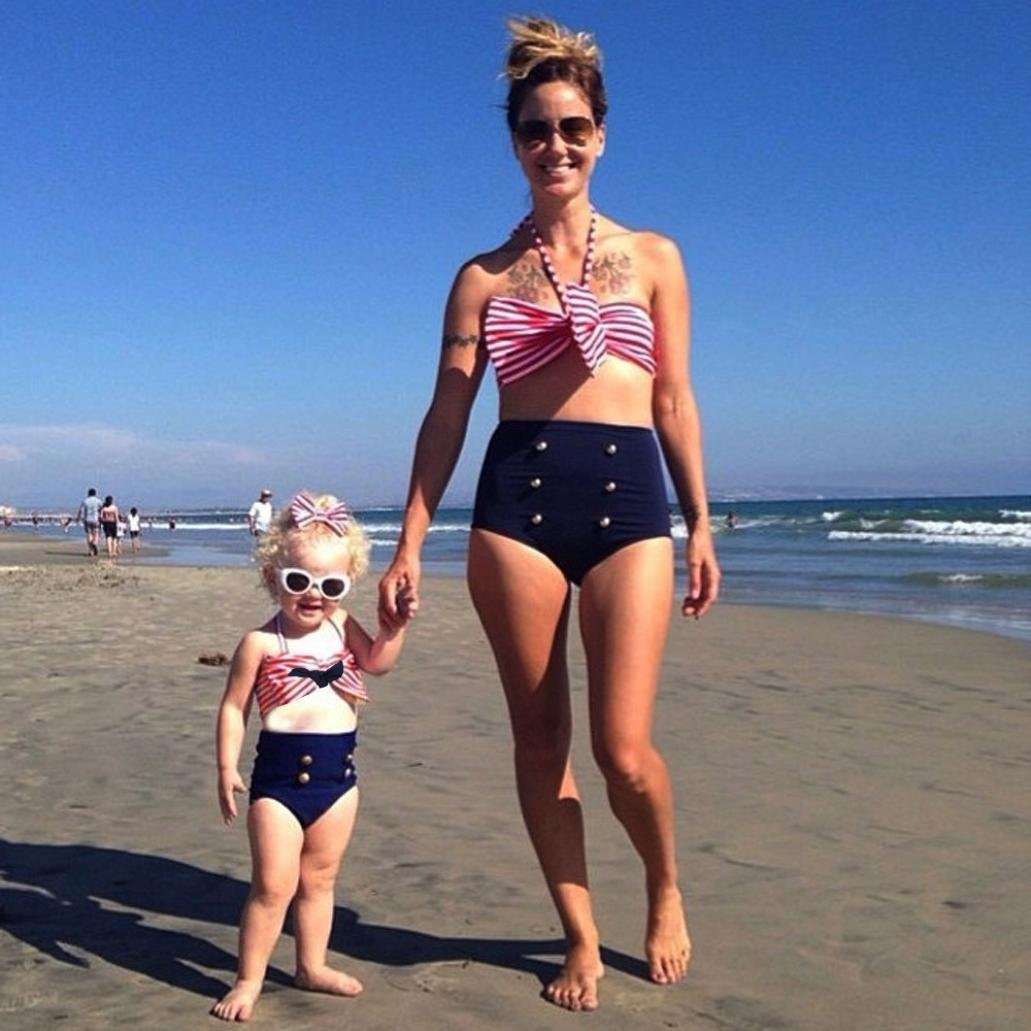 3bd2fc2ebeb67 Amazon.com : Hunputa 3pcs Baby Girls Bikini Suit Navy Striped Swimsuit  Swimwear Bathing with Headband (0-6 Months) : Garden & Outdoor