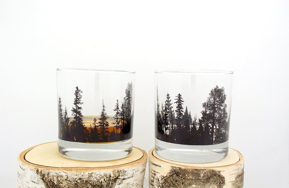 Whiskey Glasses - Forest Landscape - Set of Two 11oz. Tumblers
