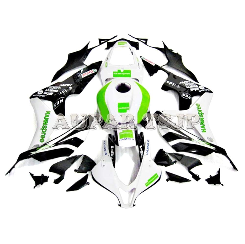 AUPARTSJP 外装パーツセットアダプテーションフルフェアリングキットフィットホンダCBR600RR F5 2007 2008 CBR600 RR 07 08 CBR 600 RR ABS樹脂注入オートバイカウルグロスホワイトグリーンブラックハル   B07SDBKWZC