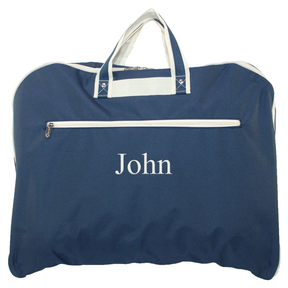 Personalized Unisex Navy Blue Garment Suit Bag with Beige Trim