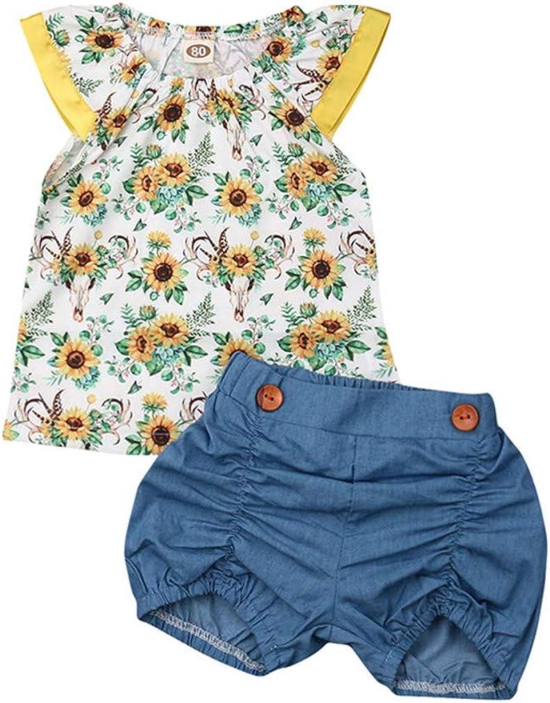 DuAnyozu Toddler Baby Girls Matching Outfits Summer Clothes Sunflower Romper Sleeveless Tank T Shirt+Denim Shorts Set