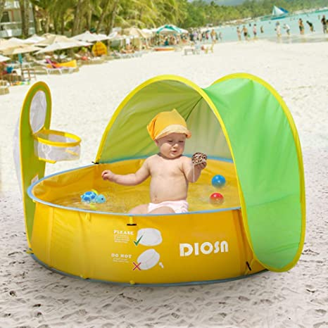 the best attitude 93df4 5fa5f DIOSN Pop Up Baby Beach Tent and Pool Tent UV Protection Sun  Shelters,Portable Kids Ball Pit Play Tent Indoor Outdoor Baby Paddling Pool  Beach Canopy ...