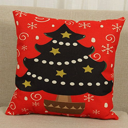 MONOMONO-Christmas Xmas Linen Cushion Cover Throw Pillow Case Home Decor Gift - Springs Mall Map Coral