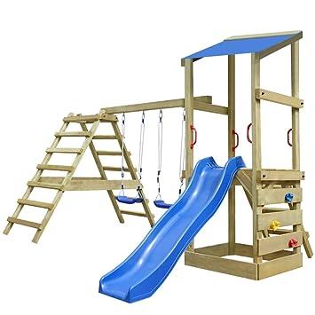 vidaXL Portique Aire de Jeux en Bois échelle Toboggan balançoires Enfants be08f38e23f7