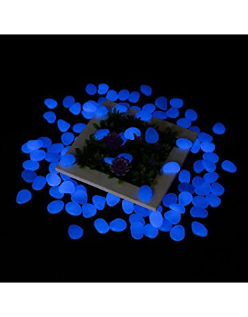 300Pcs Glow In The Dark Pebbles Tvird Stones For Garden Walkway Flowerpot