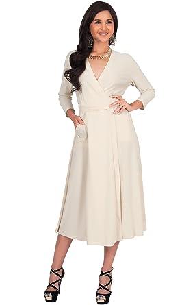 KOH KOH Womens 3 4 Long Sleeve Modest Pockets Flowy Wrap Knee Length Work  Casual 9e9218379