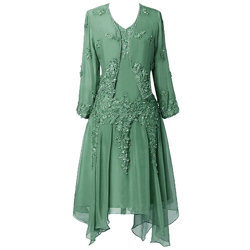 H.S.D Women Ruffles Lace Applique Chiffon Mother of the Bride Dress with Jacket