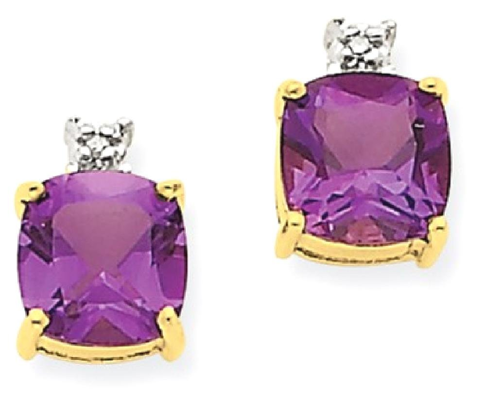 ICE CARATS 14k Yellow Gold Purple Amethyst Diamond Post Stud Ball Button Earrings Fine Jewelry Gift Set For Women Heart