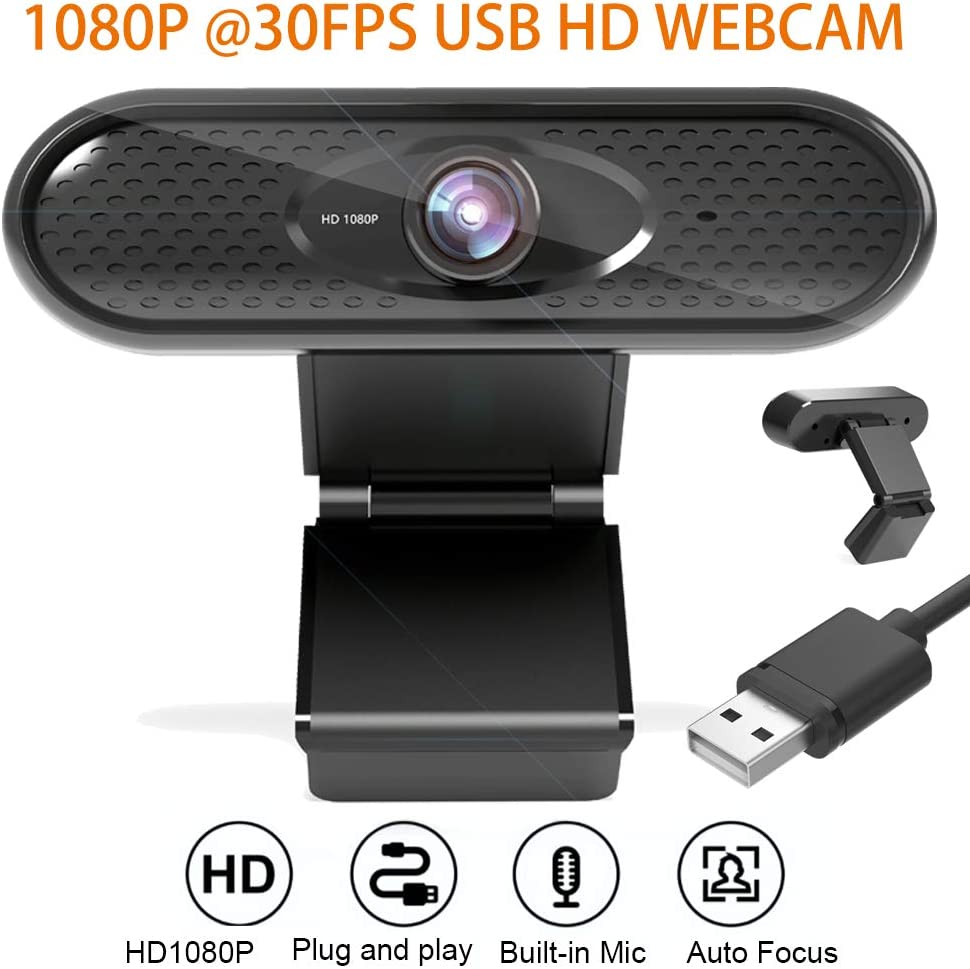 Webcam 1080P 30fps Built-in Microphone HD Pro Web Cam Live Streaming Web Camera USB Computer Camera for Zoom Skype PC Laptop Desktop Video Calling Conferencing Teaching Online Work Home Office