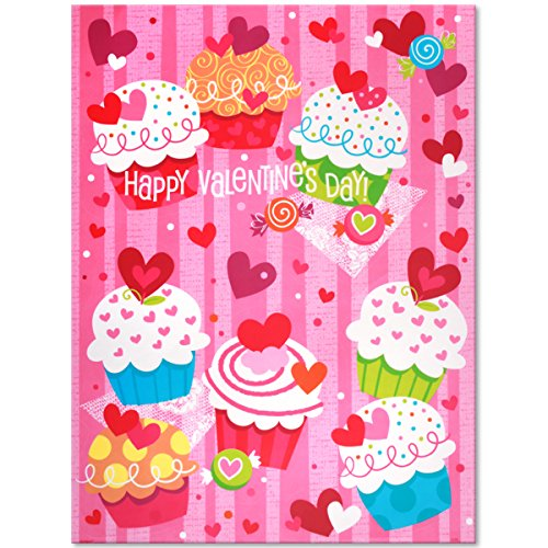 Cupcake Hearts Valentine's Day Window Cling Sheet -