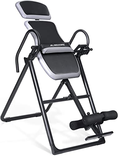 MaxKare Inversion Table Equipment with Adjustable Headrest and Lumber Support for Back Pain Relief