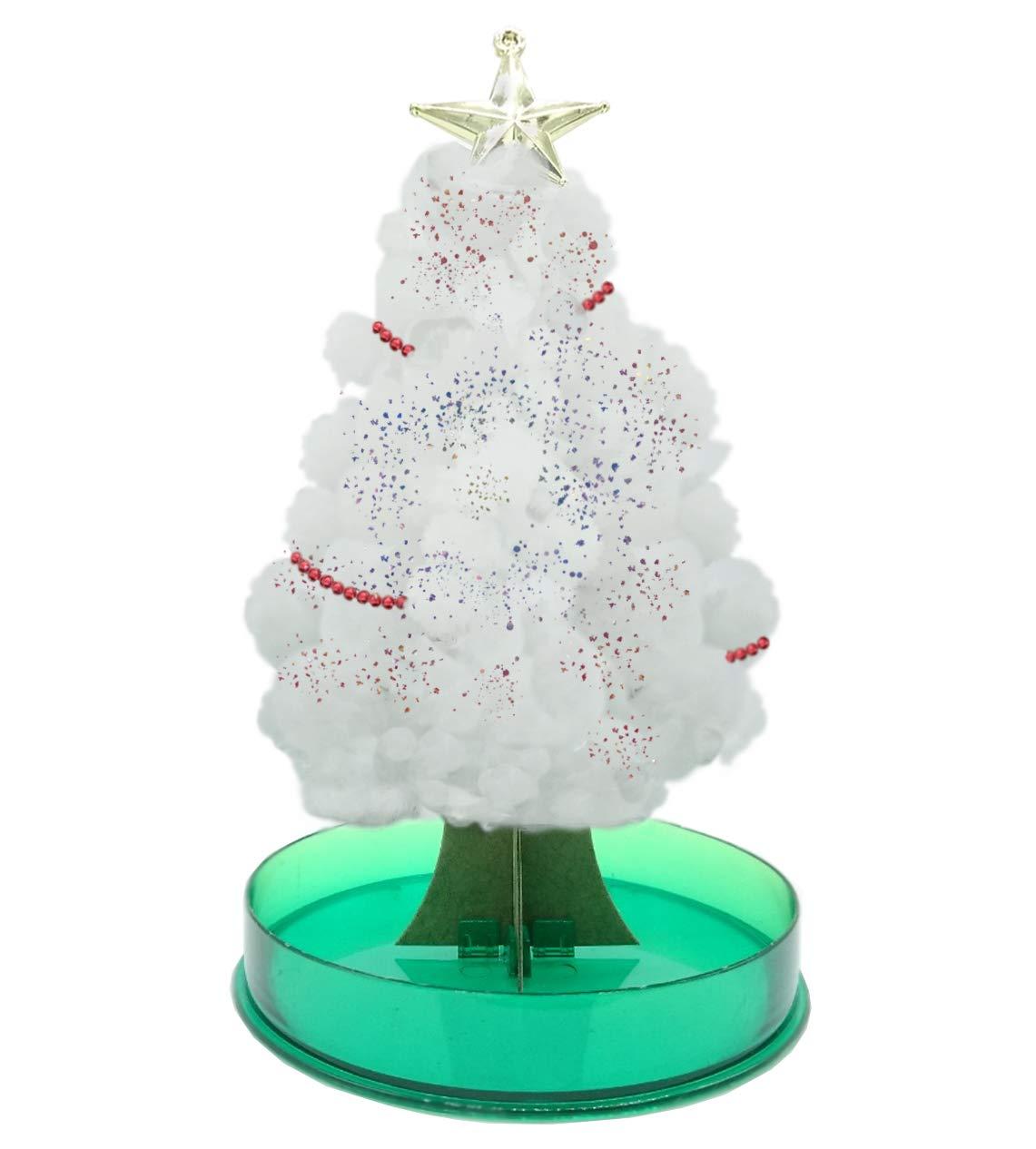 Legenden™ Arbre Magique de Noël - DIY Faites-Le Grandir en 24h - Sapin Blanc avec Paillettes, Guirlande et Étoile incluses Guirlande et Étoile incluses LegendenTM