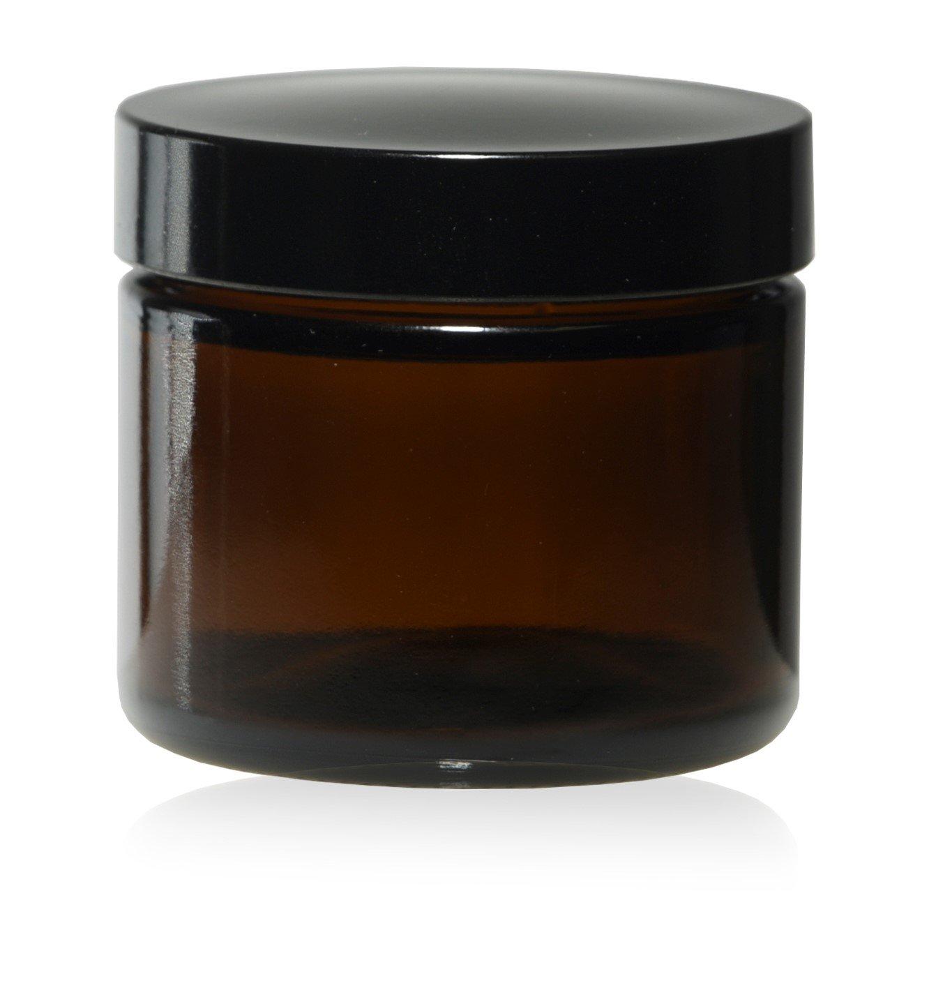 2 Oz ( 60 ml ) Amber Glass Jars w/ Black Smooth Foam lined Caps (144)