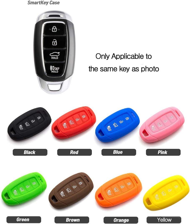 Blue LIGHTKOREA 4 Button Silicone fob Remote Smart Key Case Protector Cover Accessories Compatible with Hyundai 2018 2019 2020 Kona Elantra GT i30 Tucson Santa Fe Azera Santa Fe Veloster