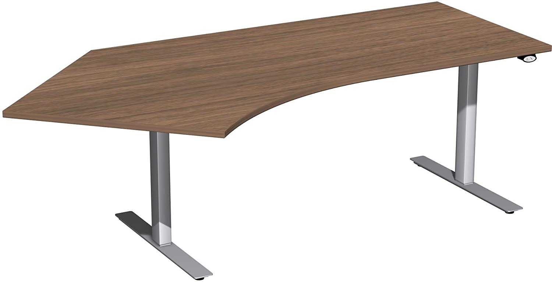 Geramöbel Elektro-Hubtisch 135° links höhenverstellbar, 2166x1130x680-1160, Nussbaum/Silber