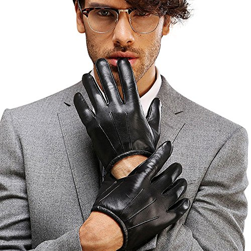 Black Leather Tactical Gloves - 4