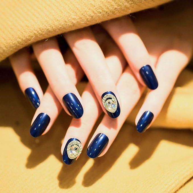 Jovono 24 uñas postizas de colores sólidos, color azul, cabeza ...
