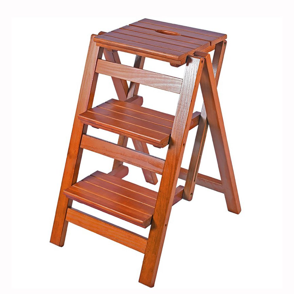 A-Light walnut color 6642cm ZZHF dengzi Simple Solid Wood Footstool Collapsible Step Stool Changing shoes Stool Creative Ladder (4 colors Available) (color   A-Wood color, Size   47  39cm)