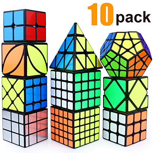 Puzzle Toy Speed Cube Set, 2x2, 3x3, 4x4, 5x5, Pyramid, Skewb, Moving Edge, Ivy, Mirror and Megaminx Cube -Toy Puzzles Cube for Kids and Adults(10 Pack)