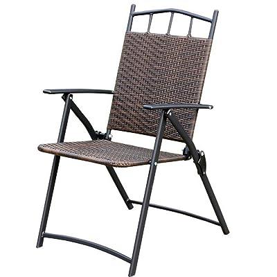 Heruai Chaises Pliantes En Rotin Naturel Fauteuil De Dossier Saillie Balcon Jardin Portable Extrieur Chaise Fer Forg Pliante