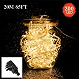 200 LED 20M String Fairy Lights,Tersely Indoor/Outdoor Fairy Lights for Christmas Tree Party Wedding Events Garden (8 Lighting Modes, Memory Function)(Warm White)