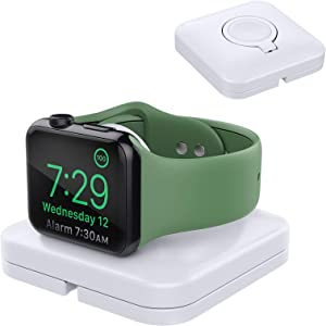 MoKo Charger Stand Compatible with Apple Watch Series 6 5 4 3 2 1 SE 44mm 42mm 40mm 38mm, (no iwatch Cable) Portable Charging Dock Station Cable Management Holder Storage Case Organizer, White