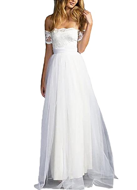Women Pure White Off Shoulder Formal Wedding Bridesmaid Evening Party Prom Gown Cocktail Dress (M