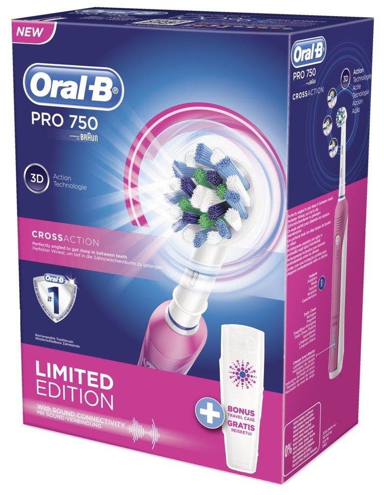 Oral B CrossAction Pro 750, Cepillo de Dientes Eléctrico y Estuche de Viaje, Rosa: Amazon.es: Salud y cuidado personal