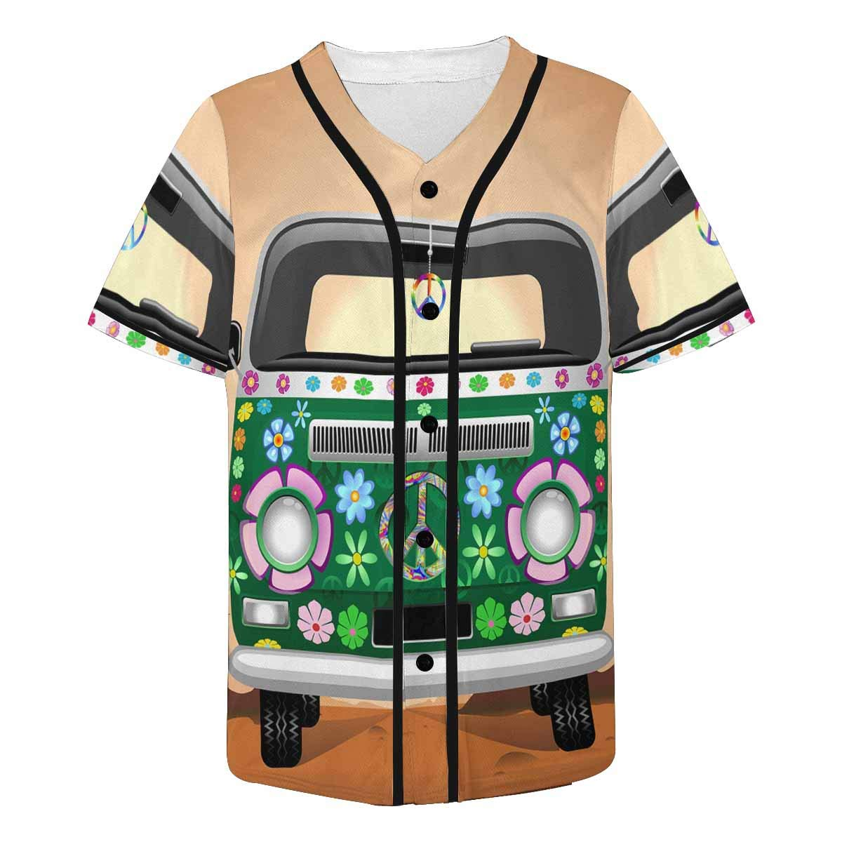 INTERESTPRINT Mens Athletic Basic Button Down Baseball Jersey