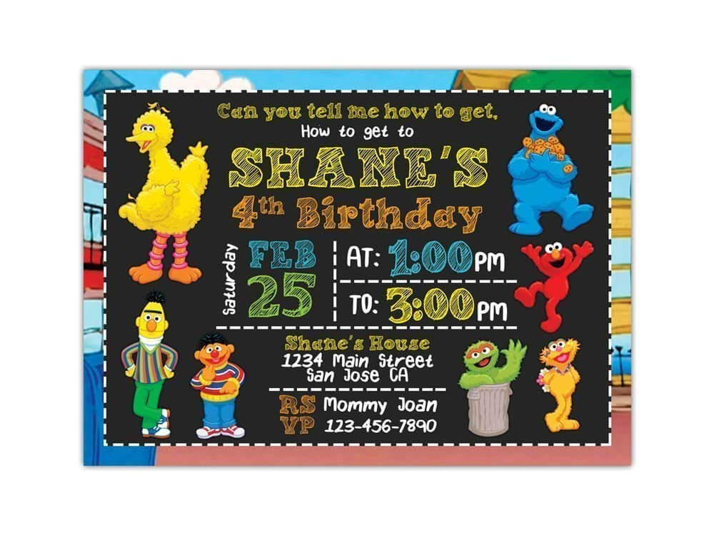 Custom Sesame Street Birthday Party Invitations For Kids 10pc 60pc 4x6 Or 5x7 Cards With White Envelopes Printed On Premium 265gsm Card