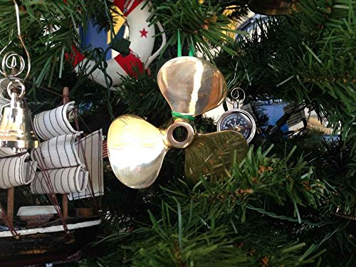 Brass Propeller - Hampton Nautical Brass Propeller Christmas Tree Ornament - Nautical Christmas Tree Decoration