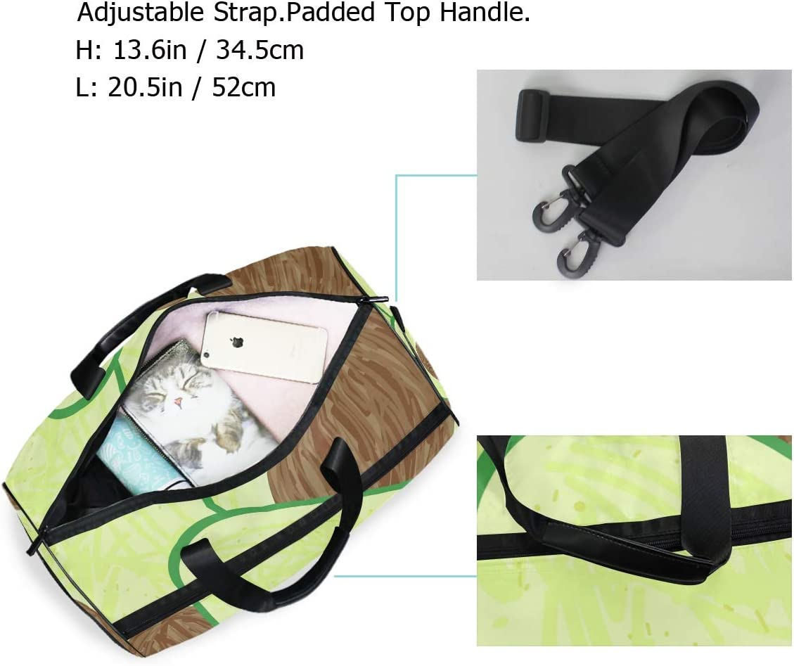 FANTAZIO Avocado Slice Pattern Sports Duffle Bag Gym Bag Travel Duffel with Adjustable Strap