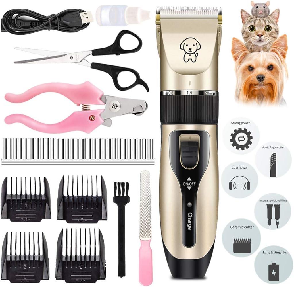 Dorakitten Perro máquinas de Cortar Pelo, eléctrico Gato Perro esquiladora recortador Kit inalámbrica Mascotas Cortapelos para Animales con Silencioso USB Recargable