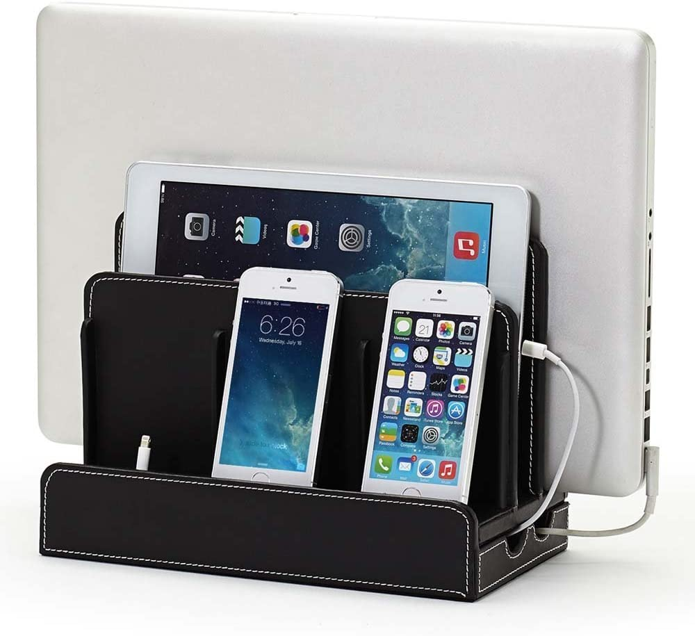Black Leatherette Great Useful Stuff Multi-Device Charging Stations
