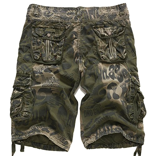 5adff1b7bf EAGLIDE Men's Twill Regular Fit Athletic Camouflage Cotton Pockets Cargo  Shorts (Olive, ...