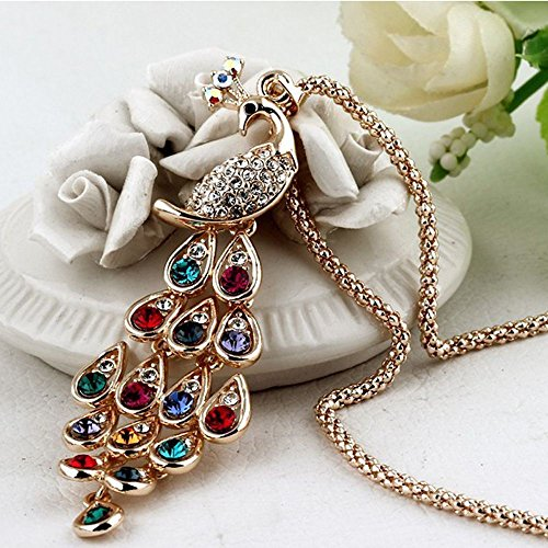 Troy Chandelier Metal (Fashion New Unique Long for Women Peacock Pendants Necklaces Colorful Crystal)