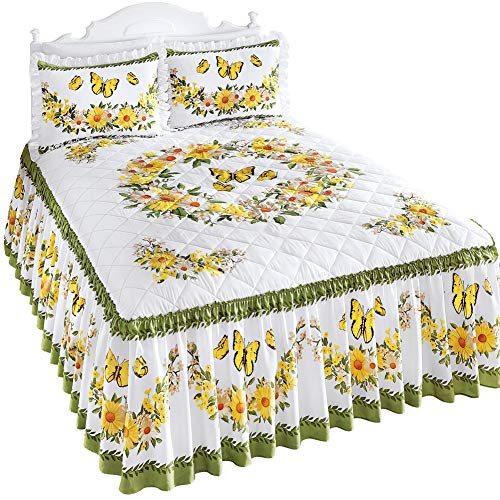 Collections Etc Yellow Daisy Butterfly Quilt-Top Ruffled Bedspread with Green Accents - Seasonal Décor for Bedroom, Yellow, Queen
