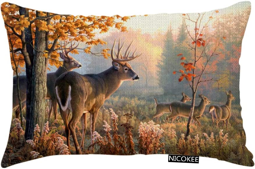 Nicokee Throw Pillow Cover Whitetail Deer with Sunshine Paintings Decorative Pillow Case Home Decor 20x12 Inches Pillowcase