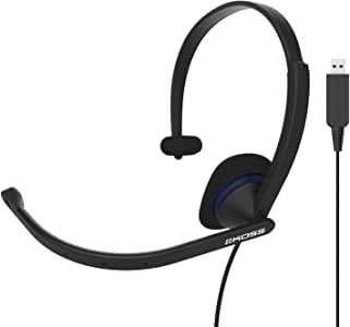 Koss CS195 USB Single-Sided On-Ear Communication Headset, Noise-Cancelling Electret Microphone, Flexible Microphone Arm, Wired with USB Plug, Black
