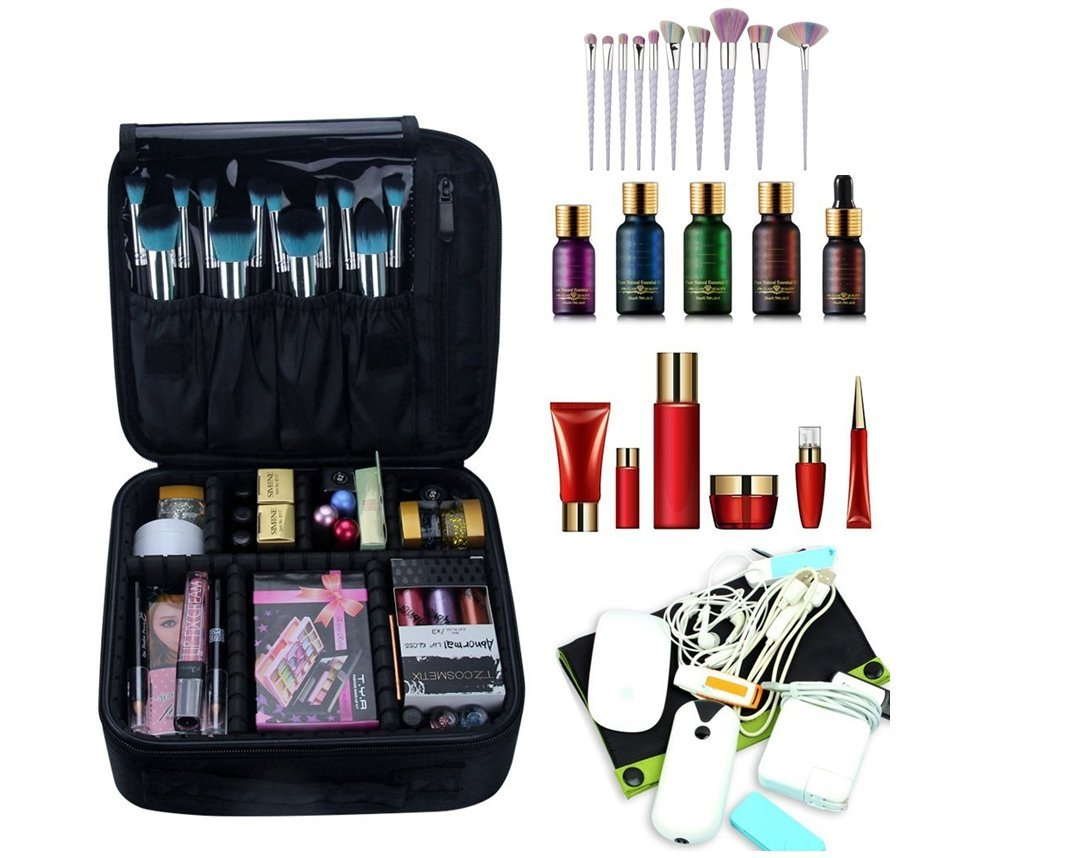 Healthcom Professional Makeup Organizer Bags Portable Travel Makeup Train Case Waterproof Cosmetic Artist Makup Pouch,Black