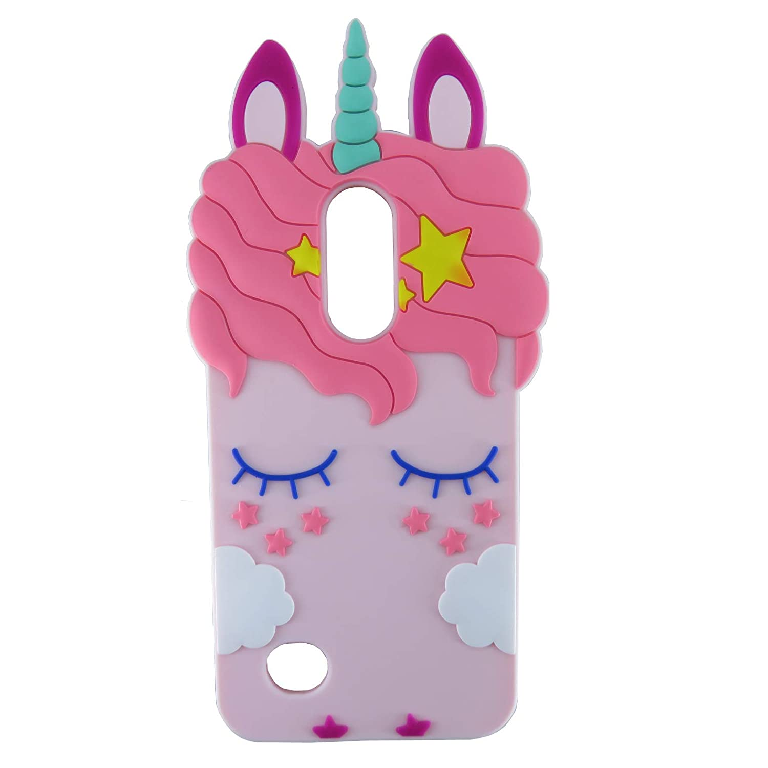 EMF Pink Horse Case for LG Aristo 3/Tribute Empire/Rebel 4 LTE,3D Cartoon Animal Cute Silicone Kawaii Animated Fun Cool Skin Case for Kids Teens Girls for Phoenix 4 3 2/Risio 3 2/Zone 4/K8 2017