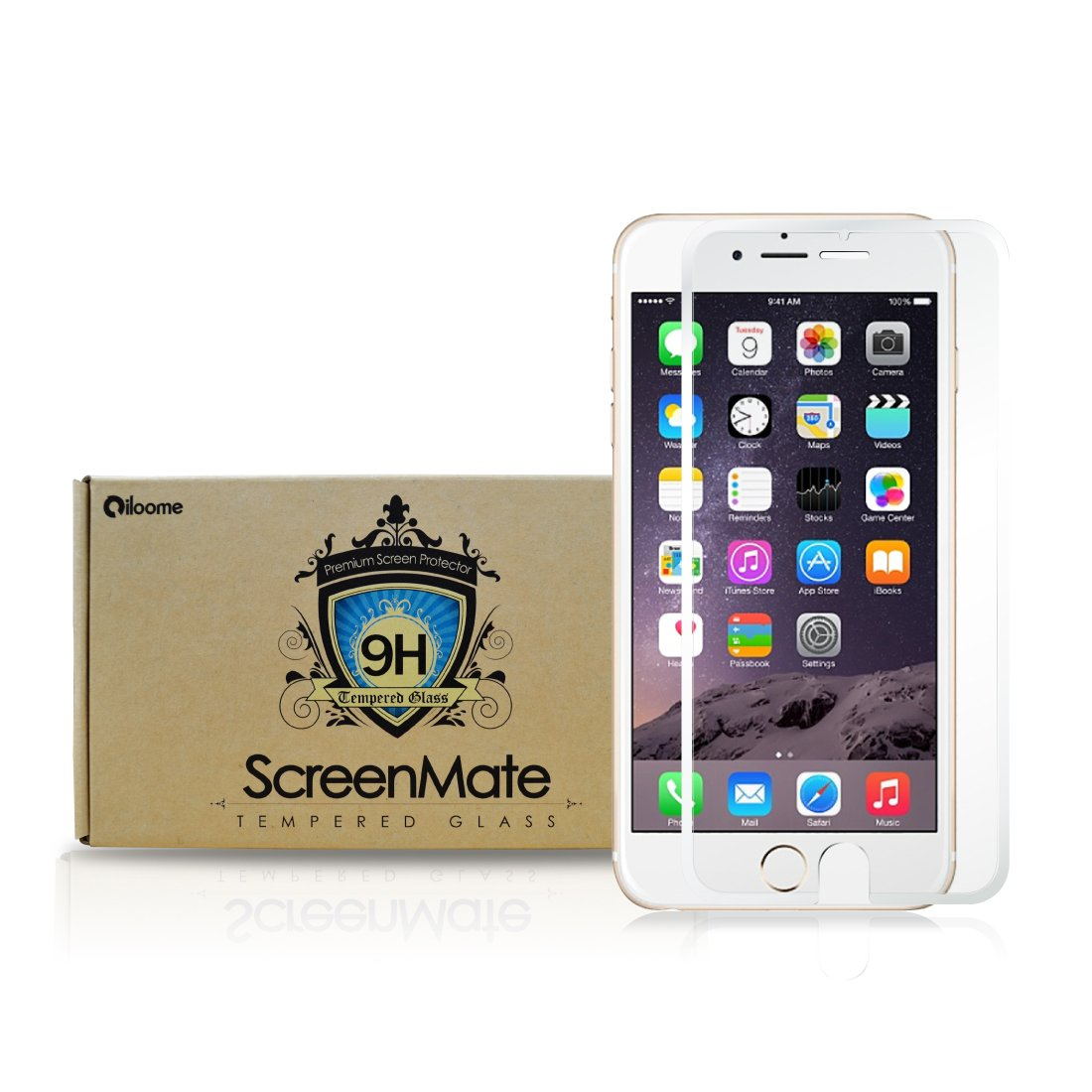 iloome Apple iPhone 6 4.7in (Arctic White) ScreenMate Real Tempered Glass 9H Hardness Premium Screen Protector with CurveProtectTM Technology, Rounded Edges ...