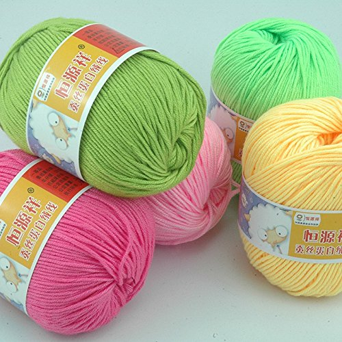500g/lot , 10 Balls,soft Silk Fiber Cashmere Wool Yarns For Kids Eco-friendly Dyed Baby Yarn For Knitting