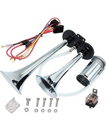 Airzir 12V 150dB Air Horn Kit, Super Loud Twin Tone Chrome Plated Zinc Dual Trumpet
