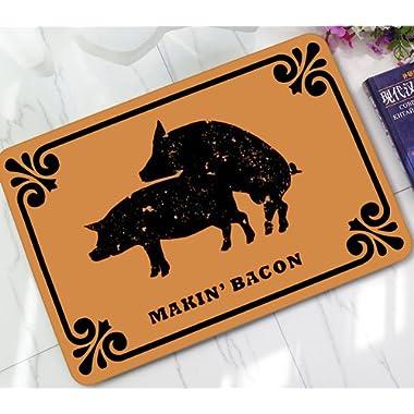 ChezMax Two Black Pigs Printed Non-slip Doormat Coral Fleece Indoor Outdoor Kitchen Floor Rug Front Door Mat Funny Flannel Carpet 23.62  X 15.74