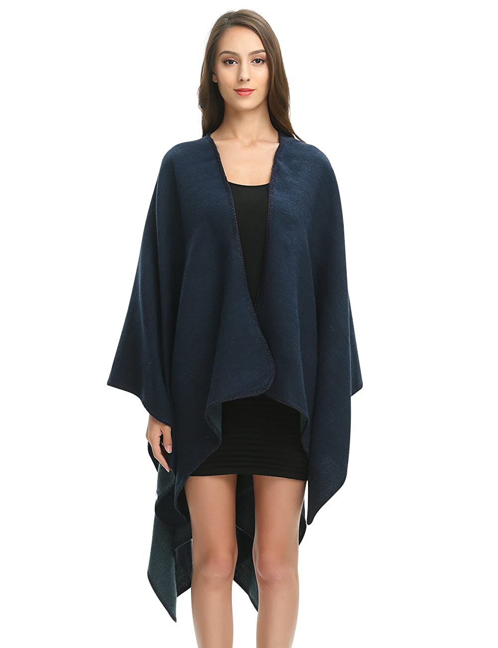 Ferand Elegant Open Front Thick Poncho Cape Knit Warm Shawl Wrap for Women One size Style 1: Black