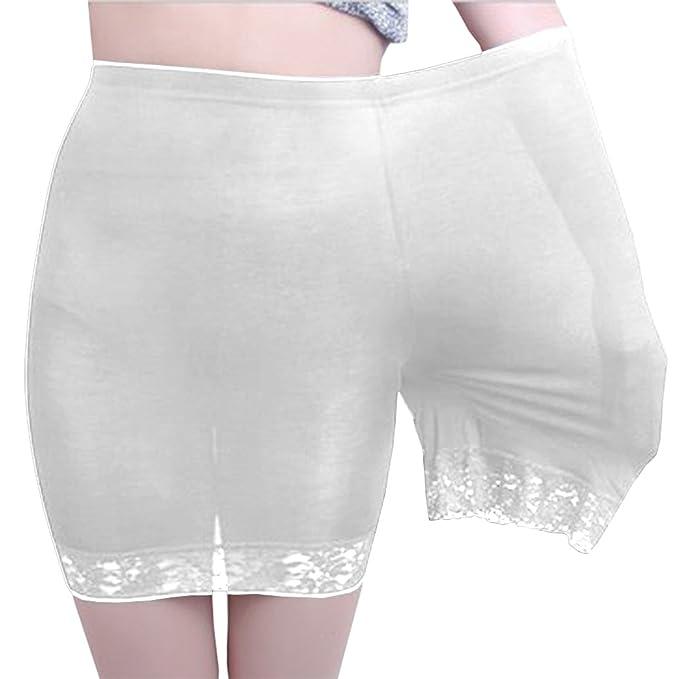 Yeesea Mujer Verano Faldas de Encaje de Las Mujeres de Moda Corto Falda bajo Pantalones de Seguridad Ropa Interior Pantalones Cortos Blanco Talla única: ...