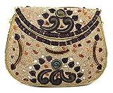 Batu Lee Handmade Antique Metal Resin Glass Beads & Lac Work Clutch Handbag
